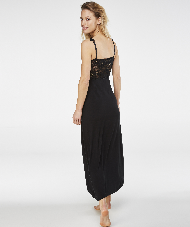Modal Lace lang natkjole, sort, main