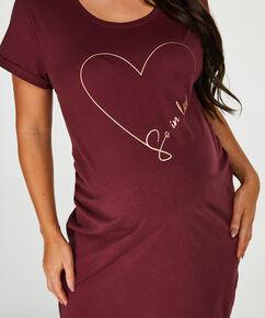 Pyjamas-T-shirt med korte ærmer til gravide, rød