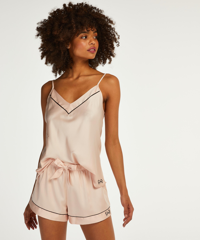 Satin Lace pyjamasshorts, pink, main