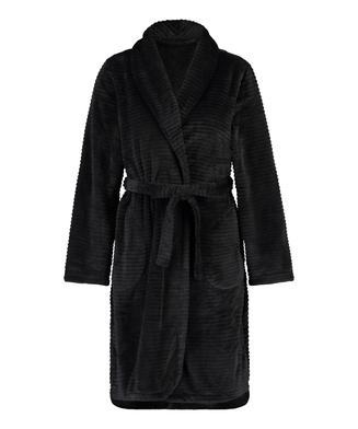Kort ribstrikket badekåbe i fleece, sort