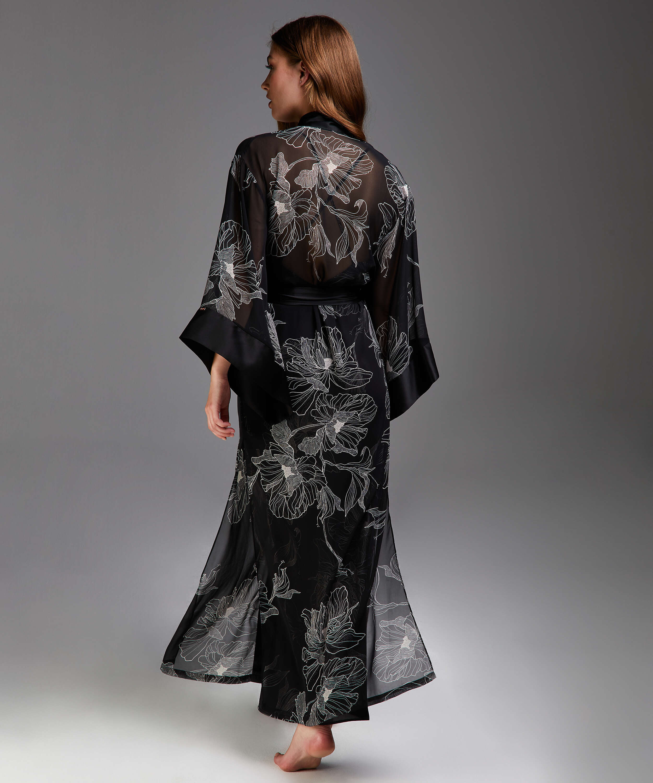 Kimono long chiffon lotus, sort, main