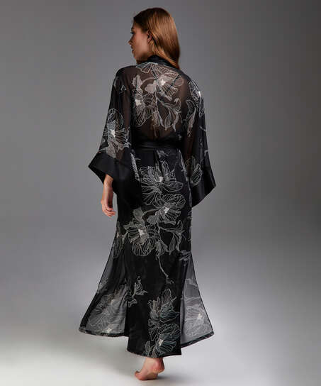 Kimono long chiffon lotus, sort