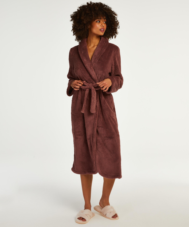 Fleece lang badekåbe, pink, main