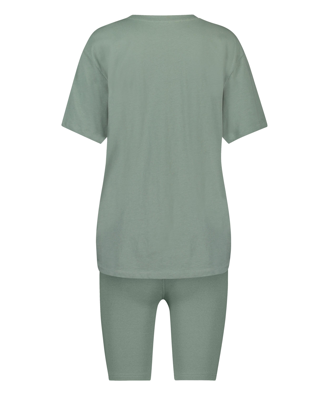 Kort pyjamassæt Biker, grøn, main
