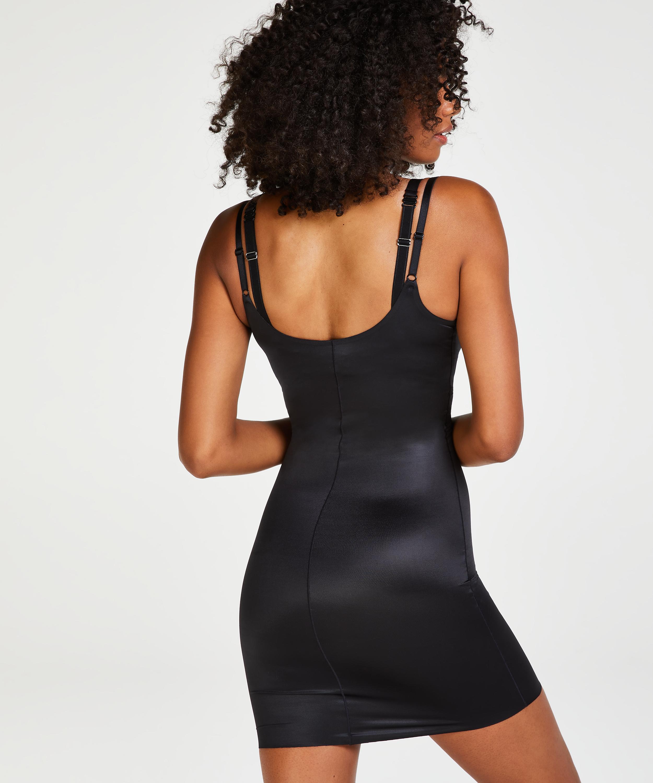 Opstrammende kjole i scuba-stof - Level 3, sort, main