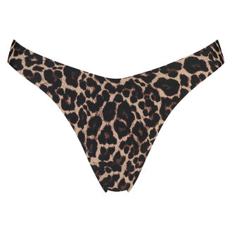 Leopard mini bikinitrusse, høj benskæring, Brown