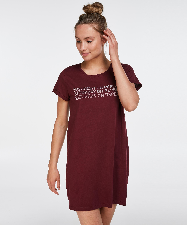Nat-T-shirt med rund hals, rød, main