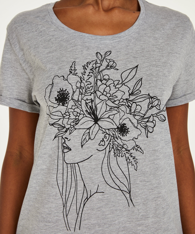 Nat-T-shirt med rund hals, Grå, main
