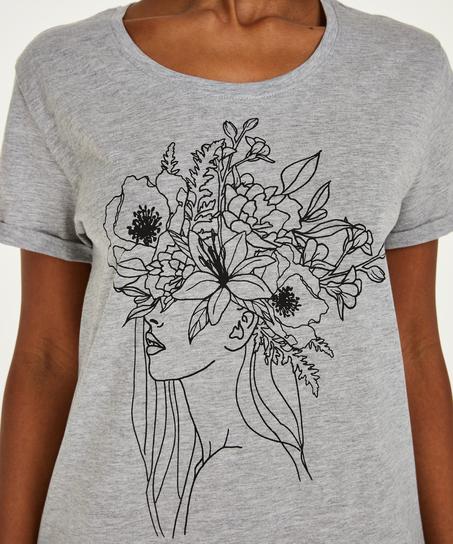 Nat-T-shirt med rund hals, Grå