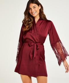 Satin kimono, rød