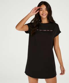 Nat-T-shirt med rund hals, sort