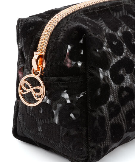 Mesh Leopard makeuptaske, sort