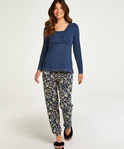 Pyjamassæt til amning , blå