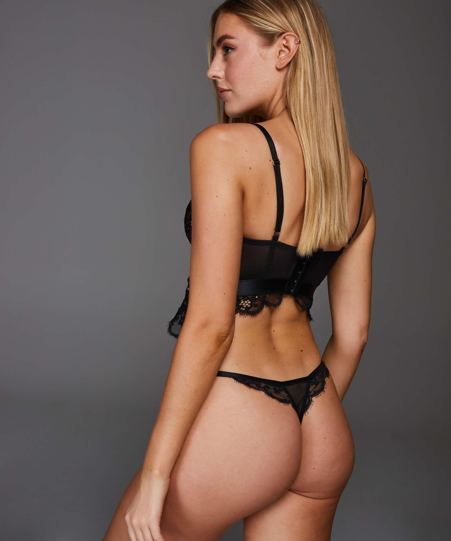 Heather formstøbt longline-bøjle-bh, sort, main