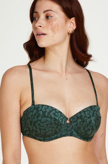Hunkemöller Tonal Leo formstøbt push-up bøjle-bikinitop Størrelse A - E grøn