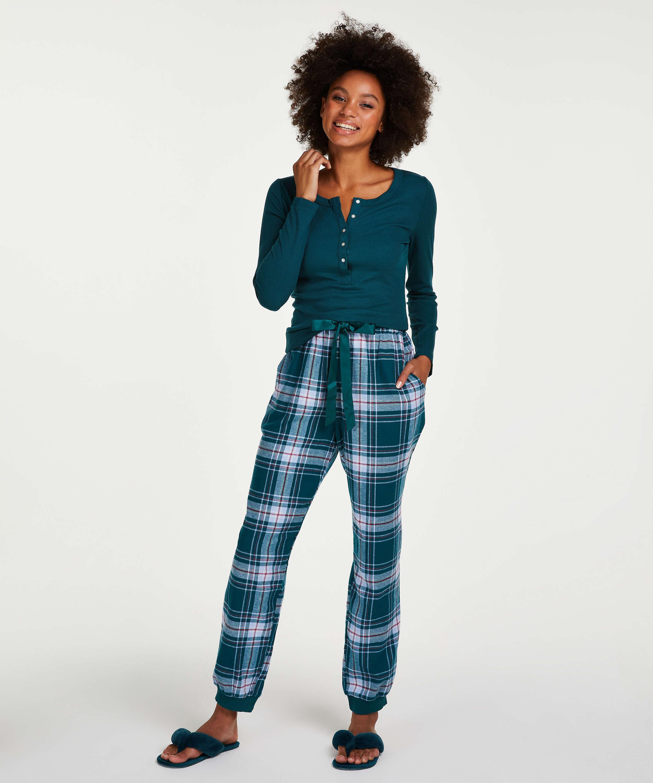 Pyjamastop med lange ærmer, blå, main