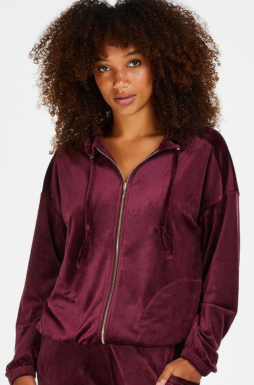 Hunkemöller Jacket hoodie velours rød