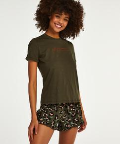 Shorts Jersey Leopard Ruffle, grøn
