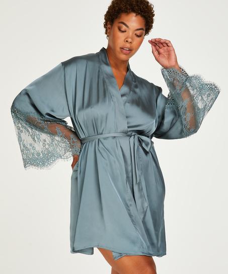 Satin kimono, grøn