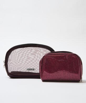 2-delt makeuptaske, rød