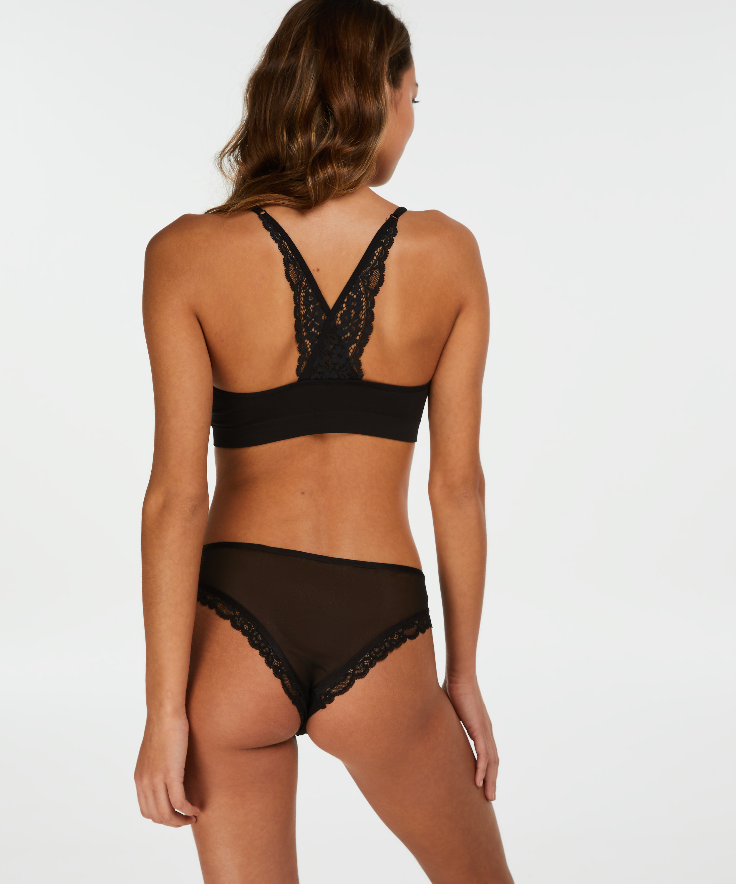 Marina Seamless Lace Back, sort, main